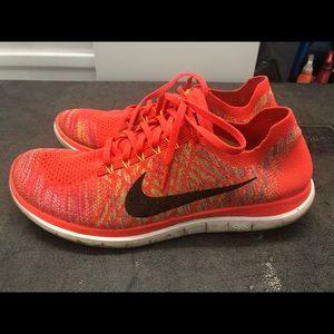 Nike Free 4.0 Flyknit Orange Sneakers Size 12